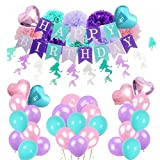 Mermaid Party Supplies Under The Sea Party Decorations Paper Pom Poms,Multicolor Round Heart Balloons,Happy Birthday&Mermaid Banner for Birthday Party,Baby Shower,Bridal Shower, Pink Lavender Purple