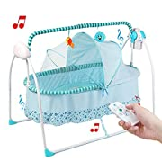 Baby Cradle Swing, Big Space Electric Automatic Baby Swings for Infants Indoor&Outdoor Outside with Dolls, Music. Boys or Girls bassinets Gift (Blue)