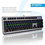 SAREPO Mechanical Gaming Keyboard – Mechanist Blue Switch 9 Modes Multicolor Led Backlight Gaming Keyboard Metal Body with 8 Extra Silent Black Switches for Pro Gamers