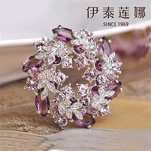 gflowers italina Genuine Crystal Brooch pin Corsage Scarf Buckle Dual Three Color Two Election (Purple ()