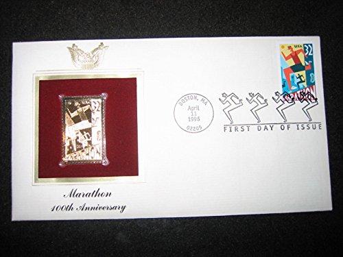 1996 Boston Mararthon 100th Anniversary 22K Gold Stamp Replica ()