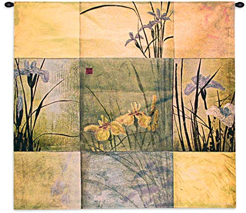 - Iris Nine Patch by Don Li-Leger | Woven Tapestry Wall Art Hanging | Contemporary Irises Golds Asian Fusion Abstract Watercolor Themed Artwork | 100% Cotton USA