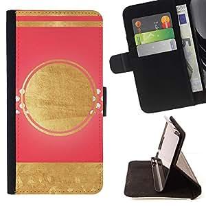 For Apple iPhone SE / iPhone 5 / iPhone 5S Case , Líneas rosadas patrón minimalista Art Deco- la tarjeta de Crédito Slots PU Funda de cuero Monedero caso cubierta de piel