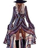 R.Vivimos Women Summer Long Sleeve Cardigan Sexy Maxi Long Dresses (Grey Purple, XL)