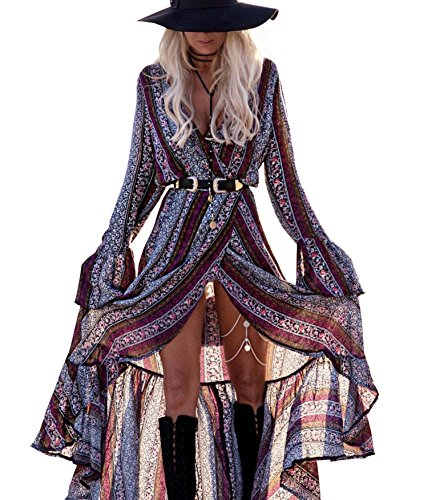 R.Vivimos Women Summer Long Sleeve Cardigan Sexy Maxi Long Dresses,Grey Purple, Large - US 12/14 (Gypsy Boots Cowgirl)