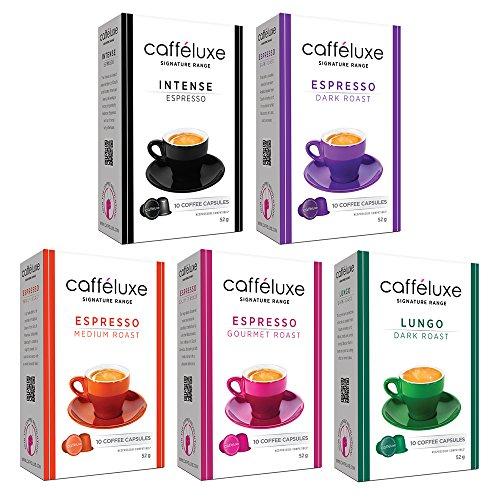 Caffeluxe Nespresso OriginalLine Compatible Espresso Capsules - Signature Collection (Gourmet, Medium, Dark, Lungo, Intense), 50 count ($.44 per - Collection Capsule