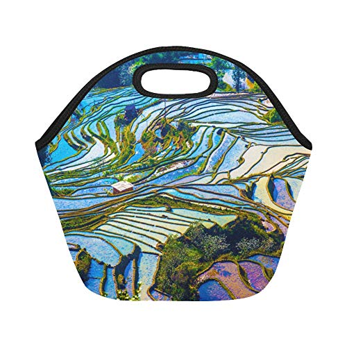 Insulated Neoprene Lunch Bag Yunnan City Free Travel Romantic Color Large Size Reusable Thermal Thick Lunch Tote Bags For Lunch Boxes For Outdoors,work, Office, School ()