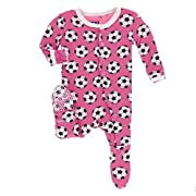 Kickee Pants Little Girls Print Footie With Snaps - Flamingo Soccer, 3-6 Months
