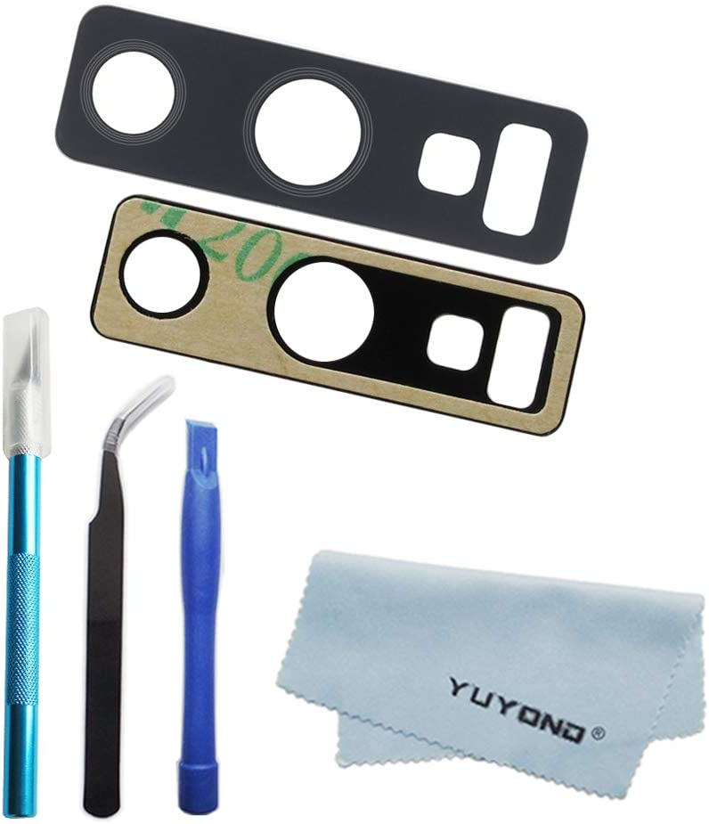 YUYOND Back Rear Camera Glass Lens Replacement with Adhesive for Samsung Galaxy Note 9 (All Carriers) Black + Tools Kit + Clean Cloth (for Note 9)