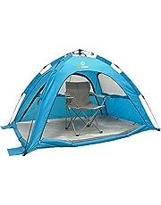 outdoorer SunSnapper blau - die automatische Schnellaufbau-Strandmuschel mit UV Schutz 80, optimaler Belüftung, Insektenschutz