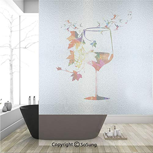 (3D Decorative Privacy Window Films,Vine Glass with Colorful Imaginary Growing Leaves Vines Aroma Sommelier Relax Joy Artsy Work,No-Glue Self Static Cling Glass film for Home Bedroom Bathroom Kitchen O)