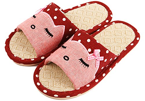 Mens and Womens Cat Print Slippers Hemp Polka-dots Couple House Shoes Red t8rkiRlSC1
