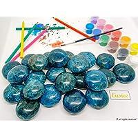 Eusice - Galet Apatite bleue de qualité extra AAA+, Pierre de lithothérapie et décoration (100g-140g, Bleu)