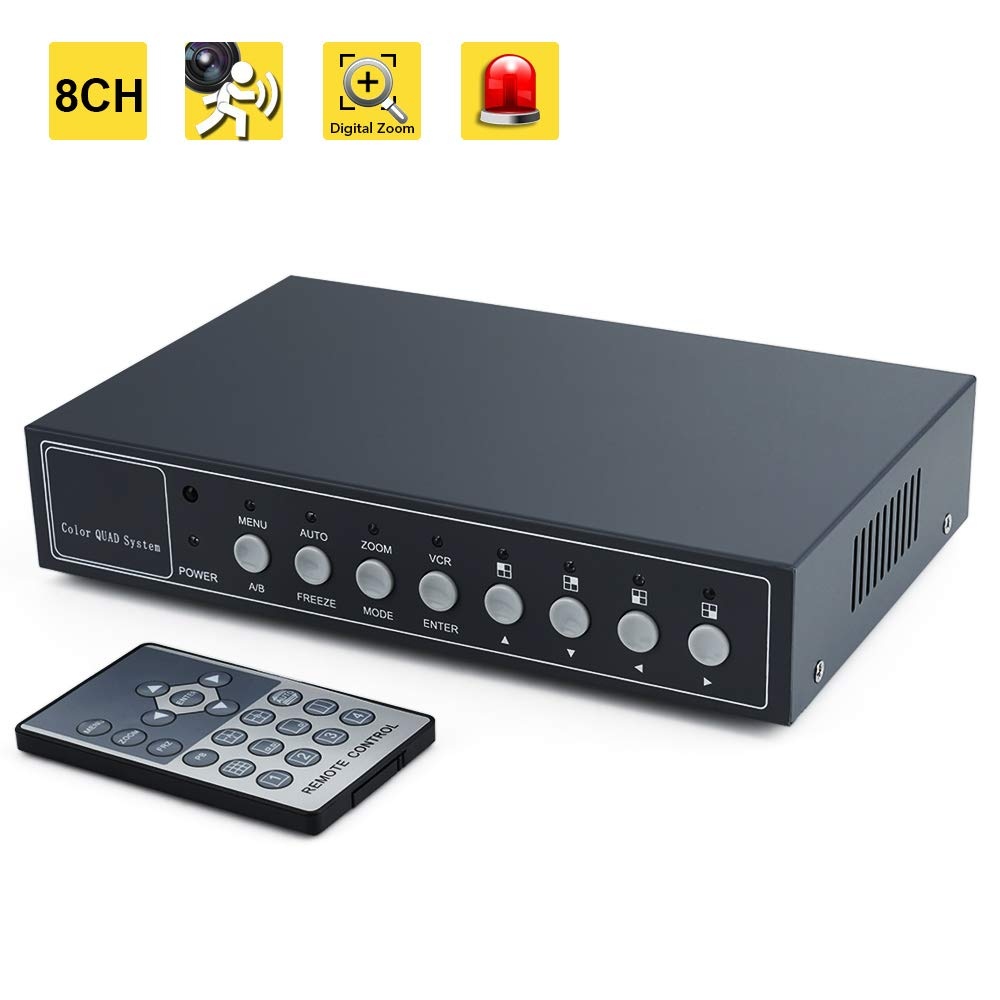 WiseupTM 8Ch Color Video Quad Splitter CCTV Security Mulitplexer Processor with Audio PIP by WISEUP