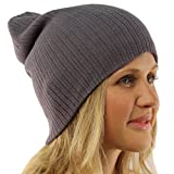 Unisex Soft Ribbed Long Beanie Slouchy Knit Hat Cap Charcoal Gray