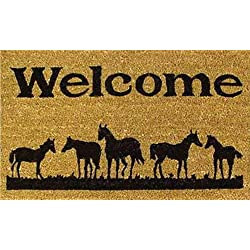 "Home & More 120291729 Horses Welcome Doormat, 17"" x 29"" x 0.60"", Natural/Black"