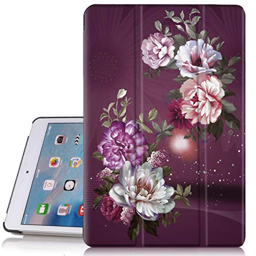 iPad mini 4 Case, Hocase PU Leather Smart Case w/Unique Pattern Design, Auto Sleep/Wake Feature, Microfiber Lining Hard Back Cover for iPad Model A1538/A1550 (2015) - Royal Purple/White Flowers