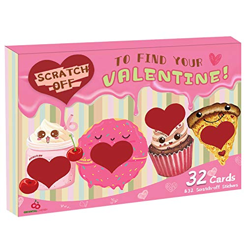Valentine Cards for Kids - Set of 32 Scratch-off Valentines - Funny Valentines day cards Exchange Bulk for Girls Boys School Supplies Classroom Party