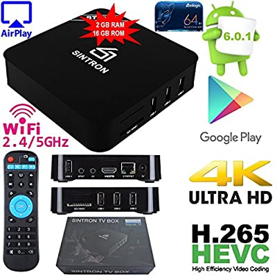 Android TV Box Streaming Player - SINTRON (2018 New Design) Latest Android 6.0 with 2GB RAM & 16GB ROM Incredibly Powerful Quad Core Amlogic 64-bit Processor, Penta Core Mali-450 GPU 4K2K, High Speed
