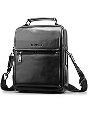 SPAHER Men Leather Shoulder Bag Handbag IPAD Business Messenger Backpack Crossbody Casual Tote Sling Travel Bag Document Bag with Top-Handle and Adjustable Strap Large Size