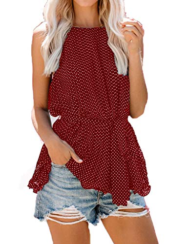 - Tobrief Womens Casual Halter Polka Dot Strappy Top Flowy Tank Top with Belt(Wine Red,XL)