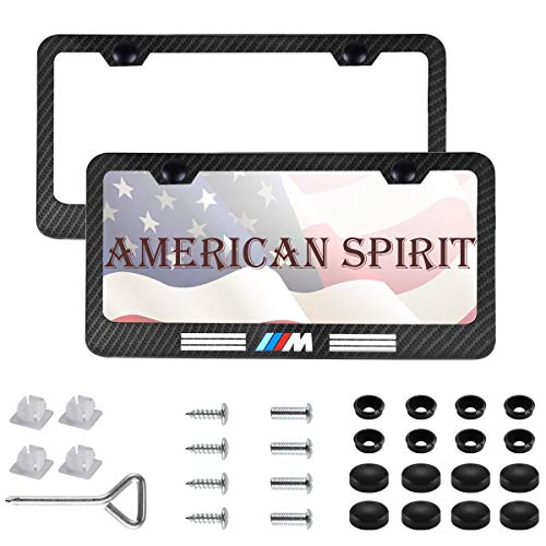 (2pcs M Sports Performance Logo License Plate Frame Frame,Applicable to US Standard car License Frame,with Carbon Fiber Textured Glossy Finish Logo for BMW (bwn-m-2))