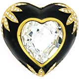 Brooches Store Large Gold Plated, Swarovski Crystal and Black Enamel Love Hear