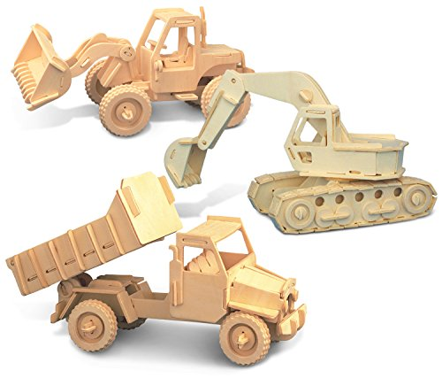 (Puzzled Bulldozer Excavator Dump Truck Vehicles Construction Wooden Model 3D Puzzle Vehicle Woodcraft Kit Easy Assembly Building DIY Toy Games Puzzles Brain Teasers 3mm Wooden Plywood Piece)