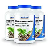 Nutricost Glucomannan 1,800mg Per Serving, 180 Capsules (3 Bottles)