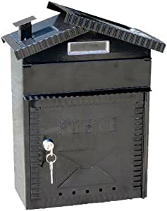 NACH TX_93EN Chateau Steel Mail Box, Black with Post Stamping and Key
