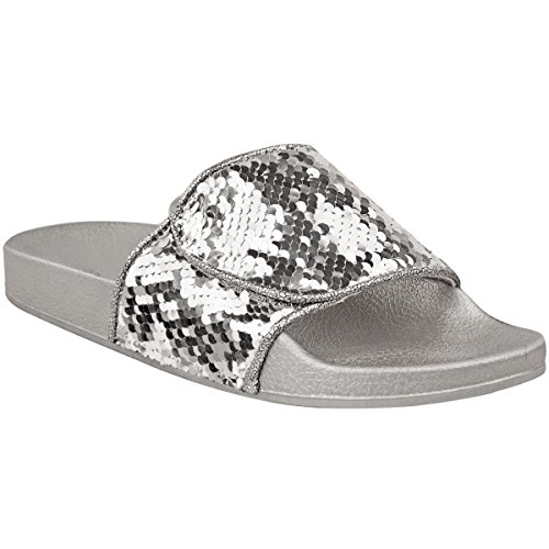 Fashion Thirsty New Womens Diamante Slides Flat Summer Slip On Sandals Bling Flip Flops Size UK Silver Metallic Sequin / Black Sequin