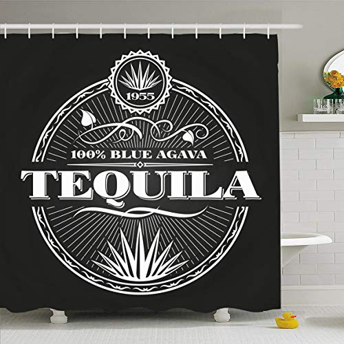 Ahawoso Shower Curtain 66x72 Inches Mexico Label Vintage Tequila On Chalkboard Sketch Liquor Mexican Bottle Bourbon Design Restaurant Waterproof Polyester Fabric Set with Hooks ()