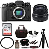 Fujifilm X-T2 Mirrorless Digital Camera (Body Only) w/23mmF2 R WR Lens + Focus 32GB Gadget Bag
