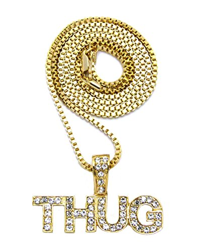 Crown Gold-Tone THUG Pendant 24