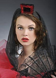 NET TOYS Copricapo donna ballerina flamenco rosa rossa velo nero ... 73b522b60ed4