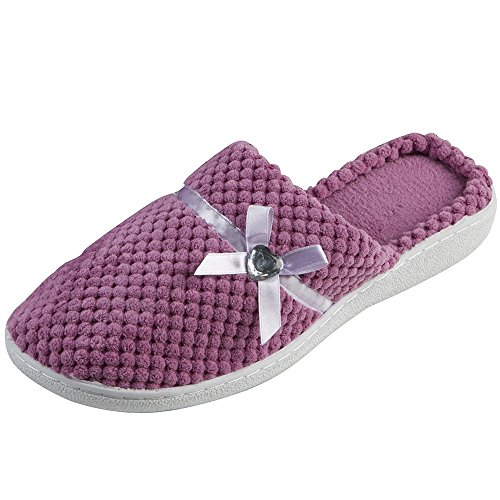 Ladies Forever Dreaming Mule Slippers Heart Diamante & Satin Bow In 3 Colours Lilac
