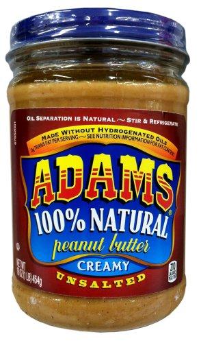 Adams 100% Natural CREAMY UNSALTED Peanut Butter 16oz