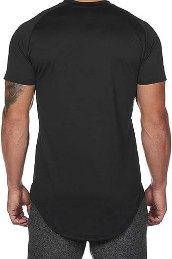 Mr.BaoLong&Miss.GO Hombres Camiseta con Cuello Redondo Tide Brand Loose Large Size Cuello Redondo Manga Corta Hombres Front Short Back Long Running Camiseta Deportiva: Amazon.es: Ropa y accesorios