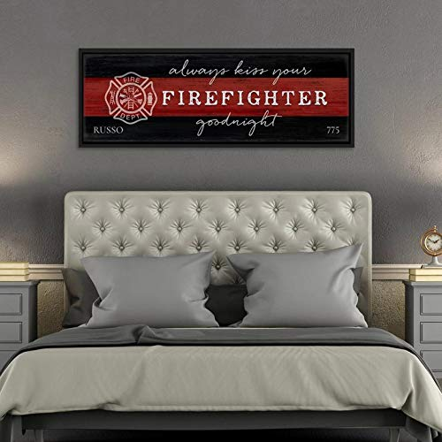 CELYCASY Always Kiss Your Firefighter Goodnight Decor Fireman Wall Art, Fire Fighter, Firefighter Wife Gifts for Her Personalize Firefighter Gift