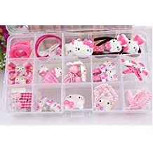 NiceGo Pink Hair Bows Clips for Girls – Hello Kitty Ribbon Boutique Kids Hair Accessories For Babies Teens Kids Toddlers & Newborn - Hairpin Bow Tie Pinwheel Barrettes, 15 Pieces in a Box
