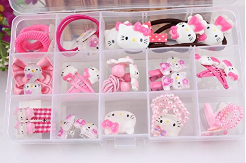 NiceGo Pink Hair Bows Clips for Girls – Hello Kitty Ribbon Boutique Kids Hair Accessories For Babies Teens Kids Toddlers & Newborn - Hairpin Bow Tie Pinwheel Barrettes, 15 Pieces in a - Ribbon Fancy Girl