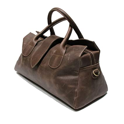 Amazon.com   LU Y Mens Travel Duffle Weekend Overnight Bag Waterproof  Vintage Canvas Genuine Leather Holdall Satchel Totes Bag - 51X23x21cm Brown    Sports   ... 33507246e8612
