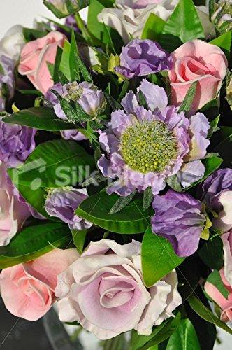 Diseño de rosas rosa pálido arreglo floral con follaje en pecera Jarrón: Amazon.es: Hogar