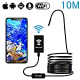 Endoscope Inspection Camera WiFi Borescope 1200P HD IP68 Waterproof Snake Camera with 8 Adjustable LEDs for Android and iOS Smartphone - Black 33FT