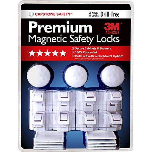 Premium Drill-Free Magnetic Safety Cabinet & Drawer Locks with 3M Adhesive - 8 Locks & 3 Keys