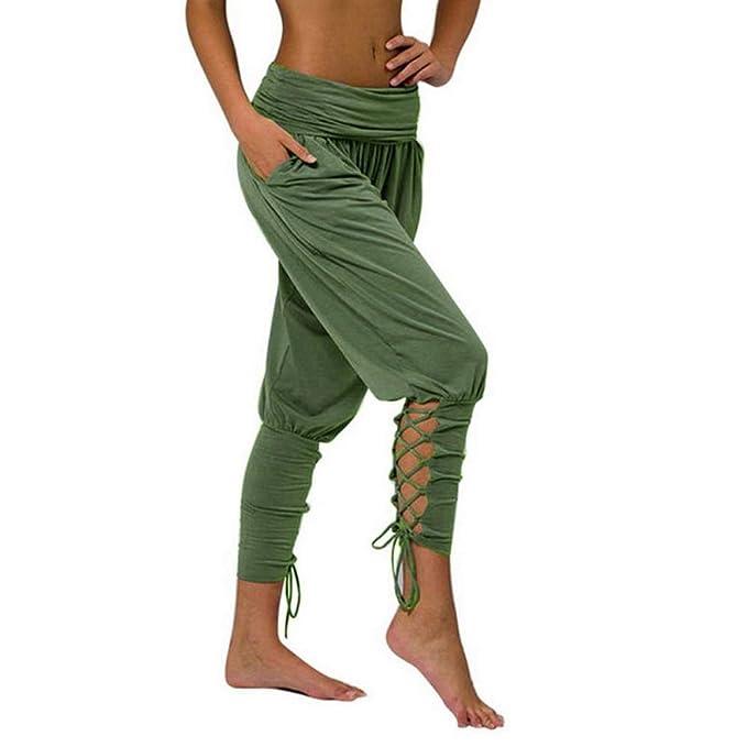 Amazon.com: BPLDT - Pantalones de yoga para mujer con encaje ...