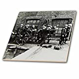 3dRose Scenes from the Past Magic Lantern Slides - Vintage Fire Brigade Edwardian Merryweather Steam Fire Engine 1908 - 8 Inch Glass Tile (ct_269854_7)
