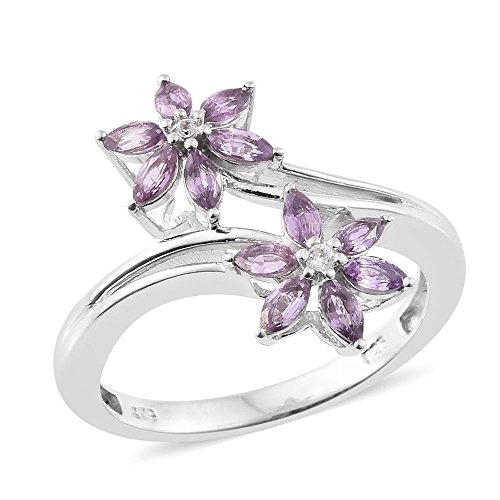 Purple Sapphire, Zircon Platinum Plated Silver Floral Bypass Ring 1.1 cttw. Size 8 (Sapphire Ring Purple For Women)