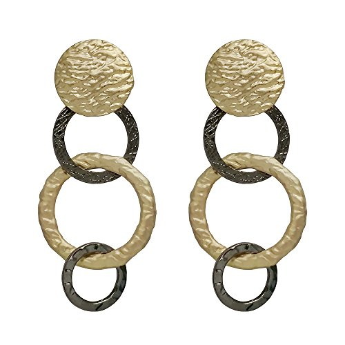 Open Round Link - Seraphina New York Triple Open Link with Pattern Round Disk Post Women's Earrings (Gold/Hematite)
