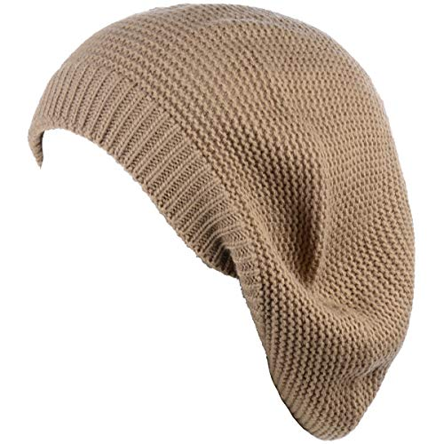 an Beige Beret Beanie Hat for Women Fashion Lightweight Knit Solid Color